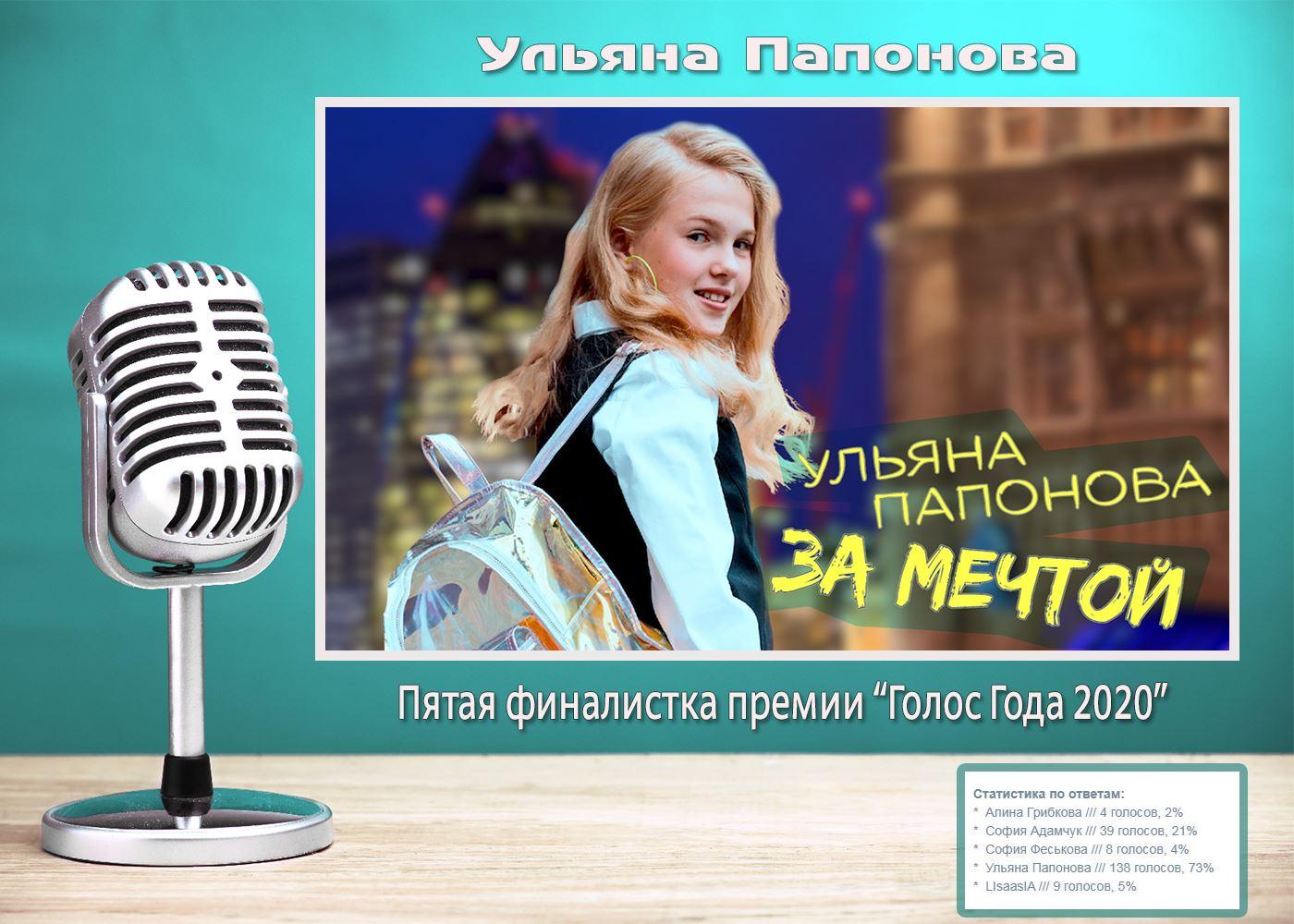 Ульяна Папонова, финалистка премии Голос Года 2020